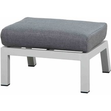 Siena Garden Malina Loungehocker Gestell und Fläche Aluminium matt weiß-grau, inkl. Sitzkissen stone grey