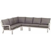 Siena Garden Malina Loungeset, 4 tlg. Gestell und Fläche Aluminium matt weiß-grau, inkl. Sitz- und Rückenkissen