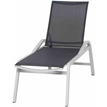 Siena Garden Milos Rollliege Gestell Aluminium matt-weiß-grau, Fläche Ranotex®-Gewebe schwarz-silber