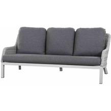 Siena Garden Sanero Lounge 3er Sofa Gestell Alu matt-weiß-grau, Gardino®-Geflecht ice grey, inkl. Sitz- und Rückenkissen stone grey