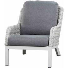 Siena Garden Sanero Loungesessel Gestell Alu matt-weiß-grau, Gardino®-Geflecht ice grey, inkl. Sitz- und Rückenkissen stone grey