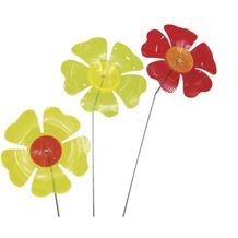 Siena Garden Set Sonnenfänger Blume 3-teilig, Acrylglas/Metall, grün, gelb, rot 17,8x17,8x95cm