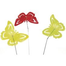 Siena Garden Set Sonnenfänger Schmetterling, 3-teilig, Acrylglas / Metall, grün, gelb, rot 17,8x17,8x95cm