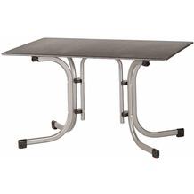 Siena Garden Slim Klapptisch 120x80 cm Gestell Stahl silber, Tischplatte Topalit® betonoptik schiefer-antik