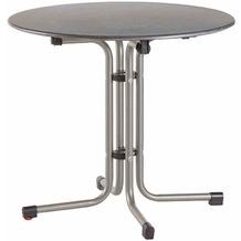 Siena Garden Slim Klapptisch Ø 80 cm Gestell Stahl silber, Tischplatte Topalit® betonoptik schiefer-antik