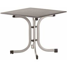 Siena Garden Slim Klapptisch 80x80 cm Gestell Stahl silber, Tischplatte Topalit® betonoptik schiefer-antik
