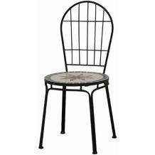 Siena Garden Stapelstuhl Stella, Stahlgestell schwarz, Sitzfläche in Mosaik-Optik, L 43 x B 43 x H 94 cm