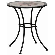 Siena Garden Tisch Stella, Gestell schwarz, Tischplatte in Mosaik-Optik, Ø 60 x H 71 cm