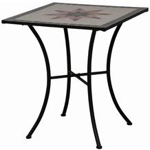 Siena Garden Tisch Stella, Gestell schwarz, Tischplatte in Mosaik-Optik, eckig, L 64 x B 64 x H 71 cm