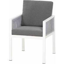 Siena Garden Varina Dining Sessel Gestell Aluminium matt weiß, Fläche Kordel grau meliert, inkl. Sitz- und Rückenkissen grau