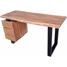 SIT ALBERO Schreibtisch 3 Schubladen Platte natur, Beine schwarz