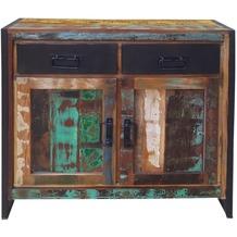 SIT BALI Kommode 2 Holztüren, 2 Schubladen bunt mit antikschwarz