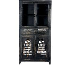 SIT-Möbel BRONX Vitrine 4 Türen, 2 Schubladen antikschwarz