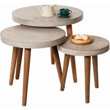 SIT CEMENT Beistelltisch 60 x 60 cm rund, mit Tom Tailor Logo Platte grau, Beine nussbaumfarbig