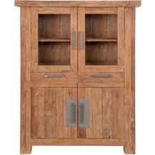 SIT CORAL Highboard 2 Glastüren, 2 Schubladen, 2 Holztüren natur