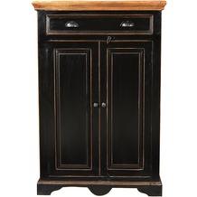 SIT CORSICA Hochkommode 2 Türen , 1 Schublade schwarz mit honigfarbiger Deckplatte