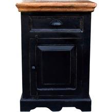 SIT CORSICA Kommode 1 Tür, 1 Schublade schwarz mit honigfarbiger Deckplatte