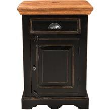 SIT CORSICA Nachttisch 1 Schublade, 1 Tür schwarz mit honigfarbiger Deckplatte