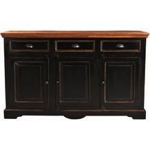 SIT CORSICA Sideboard 3 Schubladen, 3 Türen schwarz mit honigfarbiger Deckplatte
