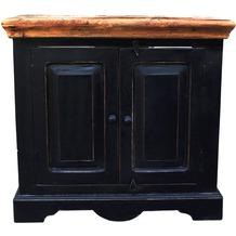 SIT CORSICA Unterschrank 2 Türen schwarz mit honigfarbiger Deckplatte