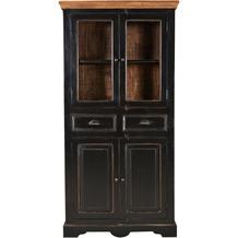 SIT CORSICA Vitrine 2 Glastüren, 2 Holztüren, 2 Schubladen schwarz mit honigfarbiger Deckplatte