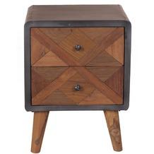 SIT CROSS Nachtkommode 2 Schubladen Holz natur, lackiert, Metall antik-grau