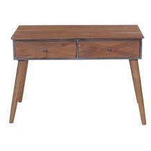 SIT CROSS Schreibtisch 2 Schubladen Holz natur, lackiert, Metall antik-grau