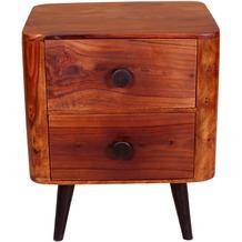 SIT KNOB Nachttisch 2 Schubladen natur, Beine antikschwarz