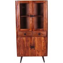SIT KNOB Schrank 2 Türen, 2 Schubladen und 2 Türen mit Glaseinsatz natur, Beine antikschwarz