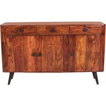 SIT KNOB Sideboard 3 Türen, 3 Schubladen natur, Beine antikschwarz