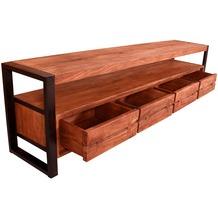 SIT LIVE EDGE Lowboard 4 Schubladen, 1 offenes Fach cognacfarbig und schwarz