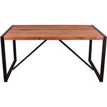 SIT LIVE EDGE Tisch 160 x 90 cm cognacfarbig und schwarz
