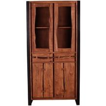 SIT LIVE EDGE Vitrine 2 Glastüren, 2 Schubladen, 2 Holztüren cognacfarbig und schwarz