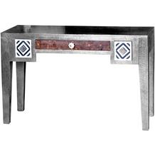 SIT METAL & BONE Schreibtisch 3 Schubladen Korpus silber, Front bunt