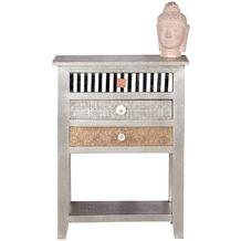 SIT-Möbel METAL & BONE Telefontisch 3 Schubladen, 1 Ablageboden Korpus silber, Front bunt