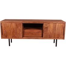 SIT-Möbel MID CENTURY Lowboard 2 Schiebetüren, 1 Schublade, 1 offenes Fach natur mit schwarzer Schublade