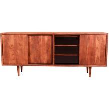SIT MID CENTURY Sideboard 3 Schiebetüren, 3 Schubladen natur mit schwarzen Schubladen