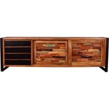 SIT MOX Sideboard 2 Schiebetüren, 4 Schubladen natur mit bunt, Metall antikschwarz
