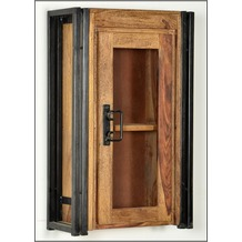 SIT PANAMA Hängeschrank 1 Holztür mit Glaseinsatz natur mit antikschwarz