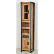 SIT PANAMA Hochschrank 1 Holztür mit Glaseinsatz, 1 Holztür, 2 offene Fächer, 1 Schublade natur mit antikschwarz