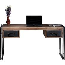 SIT PANAMA Schreibtisch 2 Schubladen natur mit antikschwarz
