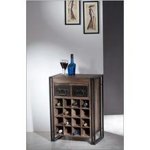 SIT PANAMA Weinregal 2 Schubladen, 16 Fächer für Flaschen natur mit antikschwarz, Flascheneinsatz aus MDF