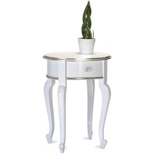 SIT-Möbel POMP Beistelltisch oval, 1 Schublade weiß mit silber abgesetzt