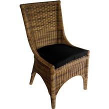SIT-Möbel RATTAN Stuhl inklusive Kissen Stuhl antikfinish, Kissen anthrazit