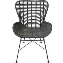 SIT RATTAN Stuhl schwarz, mit niedriger Armlehne