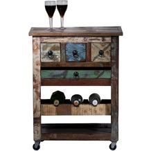 SIT RIVERBOAT Küchenwagen auf Rollen, 3 Schubladen, Ablage für 3 Flaschen, herausnehmbares Tablett bunt