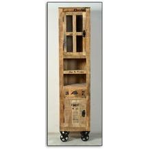 SIT RUSTIC Hochschrank 2 Türen, 1 Schublade, 2 offene Fächer natur antik mit antikschwarzen Beschlägen