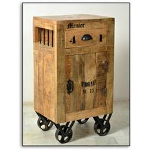 SIT RUSTIC Kommode 1 Tür, 1 Schublade natur antik mit antikschwarzen Beschlägen