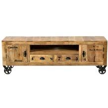SIT RUSTIC Lowboard 2 Türen, 2 Schubladen, 1 offenes Fach natur antik mit antikschwarzen Beschlägen