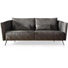 SIT SIT4SOFA Sofa 3-Sitzer, 2 lose Rückenkissen, 2 lose Kissen, Bezug anthrazit, Beine antikschwarz matt
